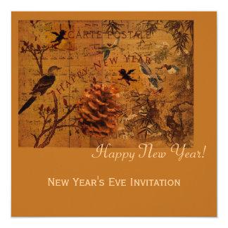 Bird Song New Year 13 Cm X 13 Cm Square Invitation Card