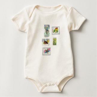 Bird Stamps Baby Bodysuit