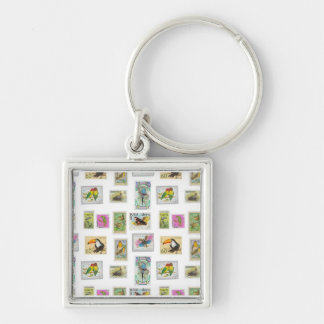 Bird Stamps on White Collections Silver-Colored Square Key Ring