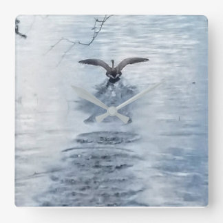 BIRD TAKING OFF ON WATER... CLOCK