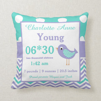 Bird Teal Purple Baby Announcement Pillow