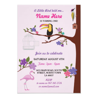 Bird Tucan GirI Birthday Pink Twins Invite