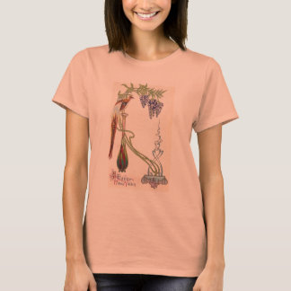 Bird, Vase and Wisteria Art Nouveau New Year T-Shirt