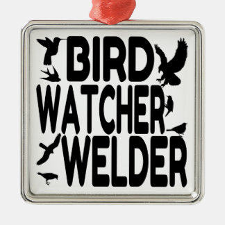 Bird Watcher Welder Metal Ornament