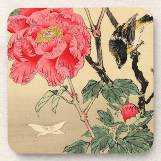 Bird watching a butterfly drink coasters