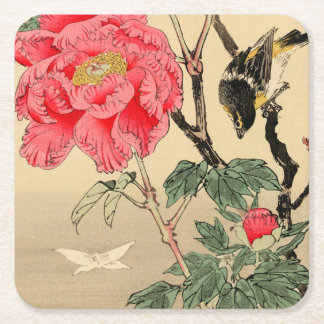 Bird watching a butterfly square paper coaster