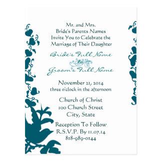 Bird Wedding Invitation Sea Blue Font on White Postcard