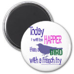 Bird with a french fry refrigerator magnets