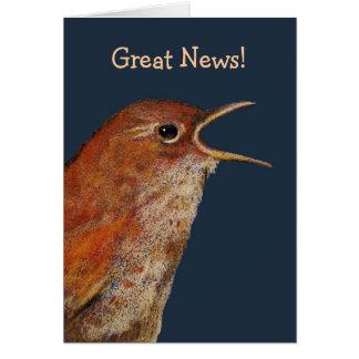 Bird With Open Beak: Great News! Original Art Card