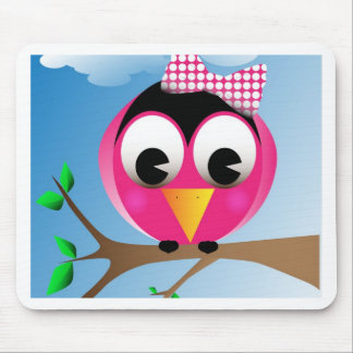 Bird with polka dotted bow mouse pads