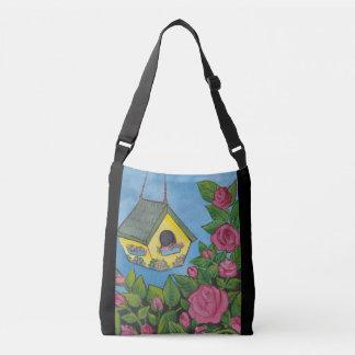 Birdhouse in the Rosebush Crossbody Bag