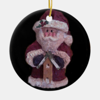 BIRDHOUSE SANTA CHRISTMAS ORNAMENT