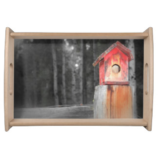 Birdhouses and Fence Posts Serving Tray
