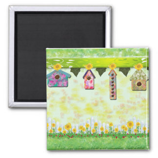 Birdhouses in Spring Magnet