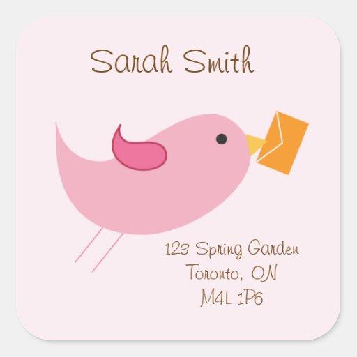Birdie Address Labels Square Sticker