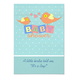 Birdie Baby Blocks Baby Shower Invitation