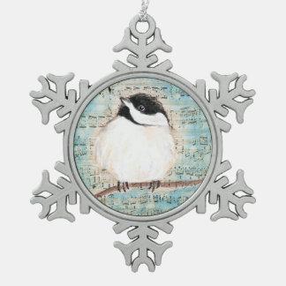 Birdie Chickadee Music Snowflake Pewter Christmas Ornament