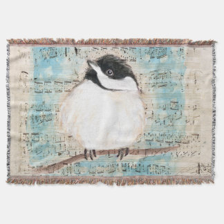 Birdie Chickadee Music Throw Blanket
