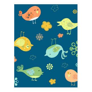 Birdies on Blue Postcard