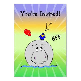 Birdie's Search for Hippo 13 Cm X 18 Cm Invitation Card