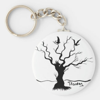Birdies (Two Birds and a Bee) Basic Round Button Key Ring