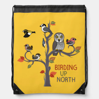 Birding Up North Drawstring Bag