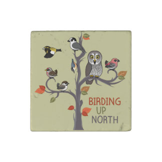 Birding Up North Stone Magnet