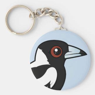 Birdorable Australian Magpie Basic Round Button Key Ring