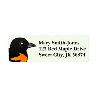Birdorable Baltimore Oriole Return Address Label