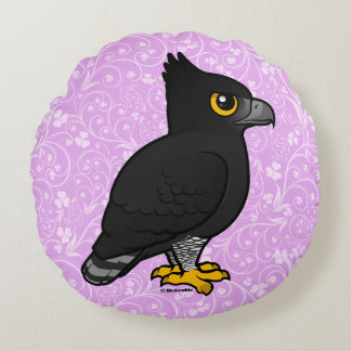 Birdorable Black Hawk-Eagle Round Cushion