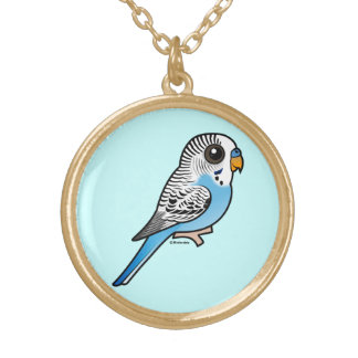 Birdorable Budgie Blue Gold Plated Necklace