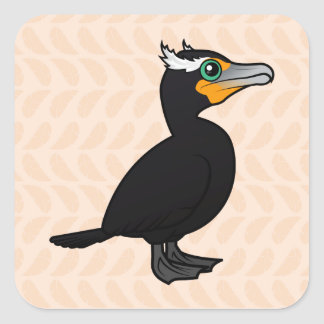 Birdorable Double-crested Cormorant Square Sticker