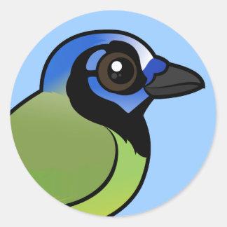 Birdorable Green Jay Round Sticker