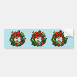 Birdorable Lovebirds Christmas Wreath Bumper Stickers