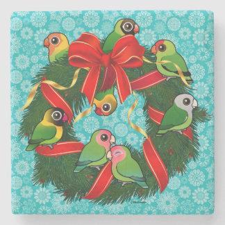 Birdorable Lovebirds Christmas Wreath Stone Coaster