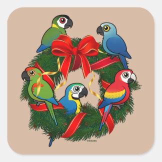 Birdorable Macaws Christmas Wreath Square Sticker