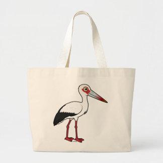 Birdorable Maguari Stork Large Tote Bag