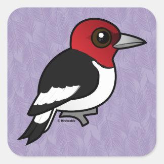 Birdorable Red-headed Woodpecker Square Sticker