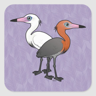Birdorable Reddish Egrets Square Sticker