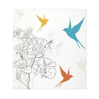 Birds a flower2 notepad