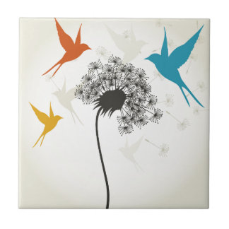 Birds a flower3 small square tile