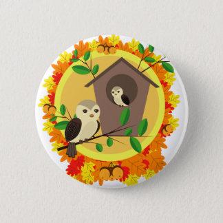 Birds And Birdhouse In The Autumn 6 Cm Round Badge