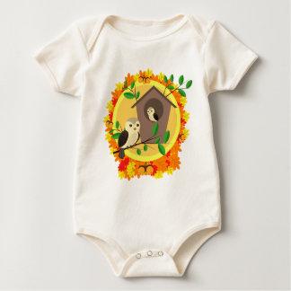 Birds And Birdhouse In The Autumn Baby Bodysuit