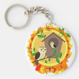 Birds And Birdhouse In The Autumn Key Ring