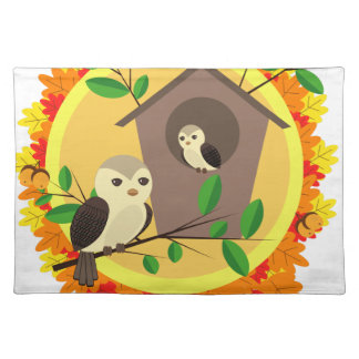 Birds And Birdhouse In The Autumn Placemat