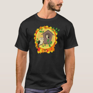 Birds And Birdhouse In The Autumn T-Shirt