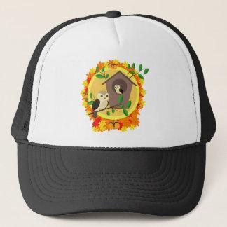Birds And Birdhouse In The Autumn Trucker Hat
