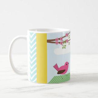 Birds and Birdhouse Yellow Mug