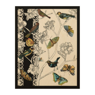 Birds and Butterfly on a Black & White Background Wood Wall Art