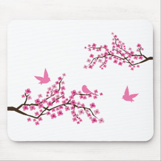 Birds and Cherry Blossoms Mouse Pad